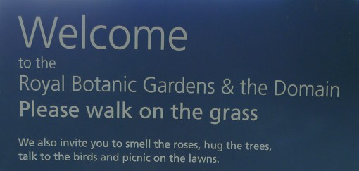 Please walk on the grass.