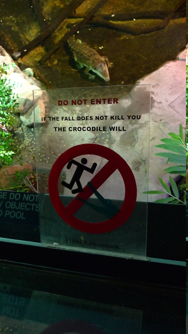 DO NOT ENTER. If the fall doesn't kill you, the crocodile will.
