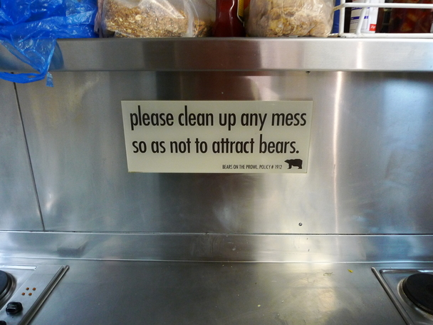 Please clean up any mess as to not attrackt bears.
