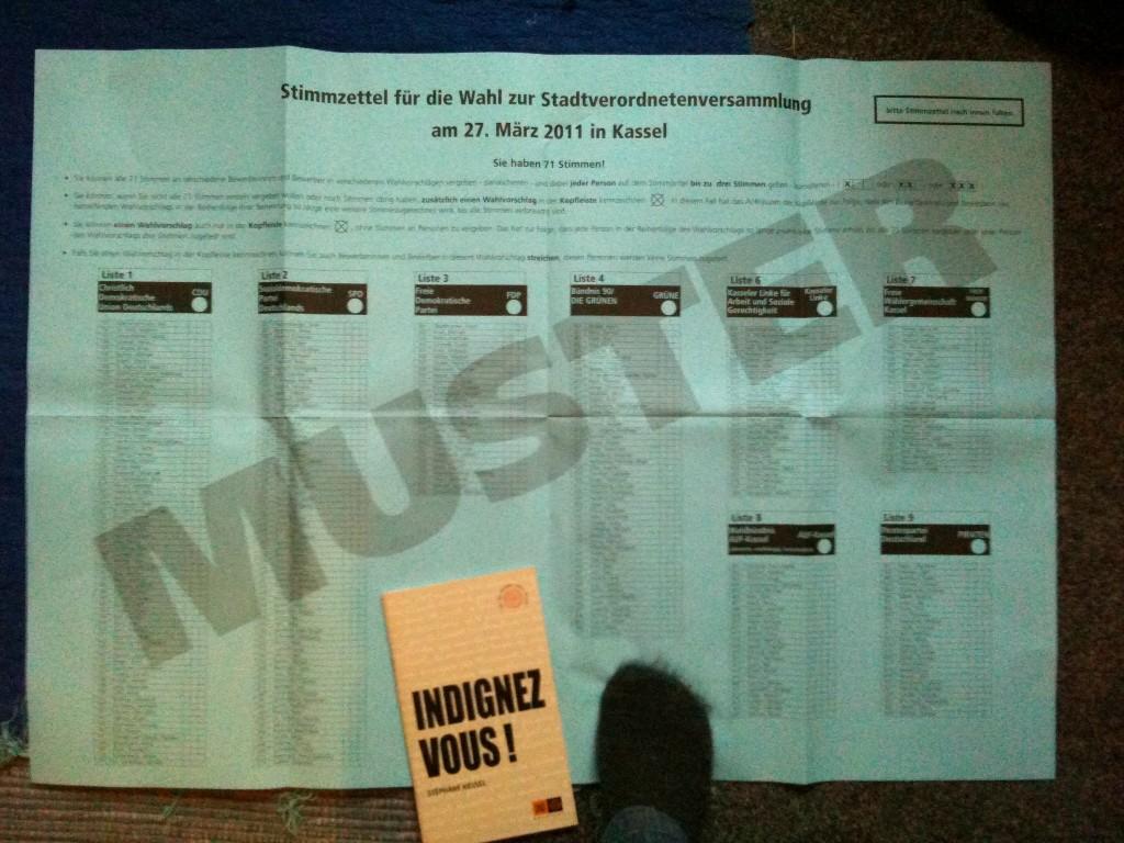 Bulletin de vote. Kassel 2011