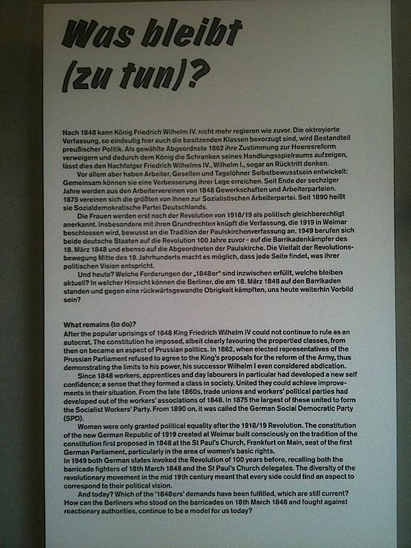 """""""Que reste-t-il (à faire) ?"""" Dernier panneau de l'expo 1848, Berlin, 2012"""